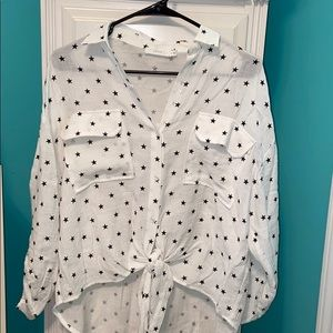 High low star patterned top